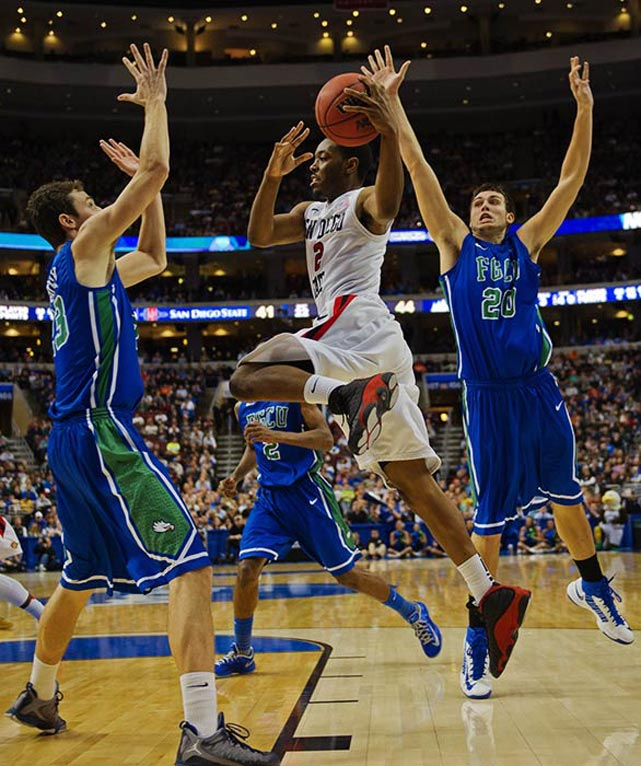 <bold>Defeated Georgetown 78-68</bold> <bold>Defeated San Diego State 81-71</bold> <bold>Next: vs. Florida </bold>(<bold><italics>SI's live bracket</italics></bold>) <bold>The Eagles held San Diego State to 27-of-61 shooting. The 16-year-old Florida school is in just its second season of being eligible for postseason play.</bold>