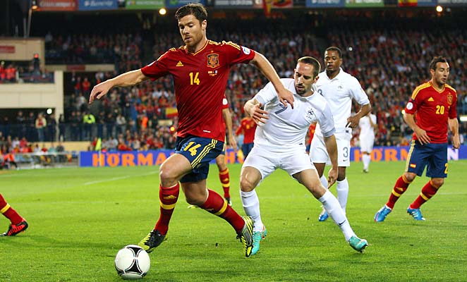 Xabi Alonso and Spain would have go to a playoff if they finish second in the group.
