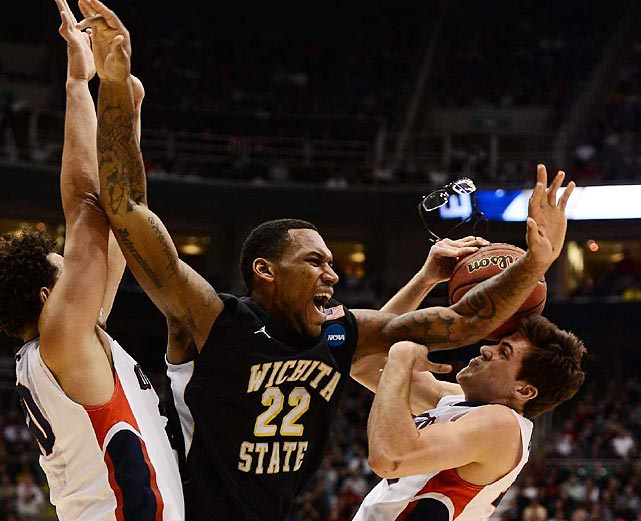 Wichita State's Carl Hall battles for position against two Gonzaga defenders during the Shockers' upset of the top-seeded Bulldogs.