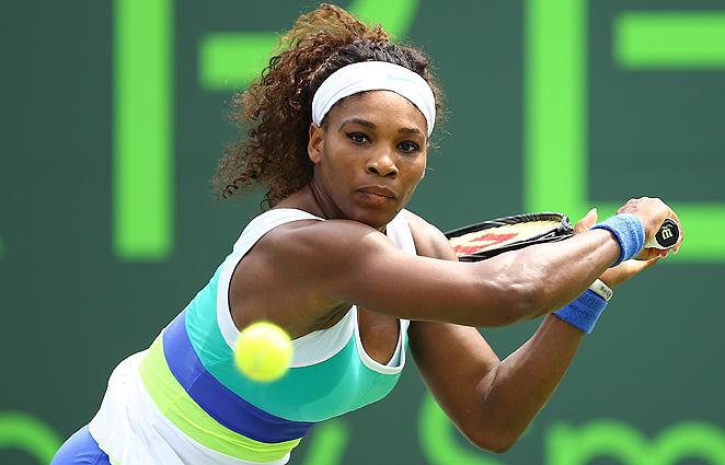 Serena Williams beat Dominika Cibulkova 2-6, 6-4, 6-2 at the Sony Open Monday.