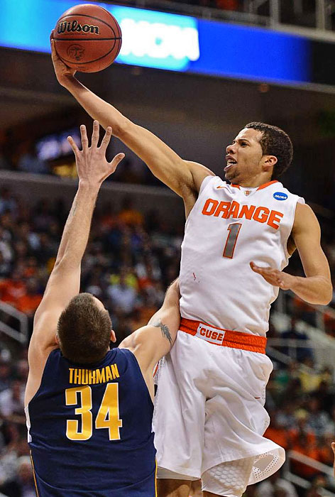 <bold>Carter-Williams' point production has been erratic in Syracuse's two tournament games, with a four-point effort against Montana followed by a 12-point outing vs. Cal. But the sophomore guard has remained a key cog in the Orange's tournament offense by averaging six assists per game for Sweet 16-bound Syracuse.</bold>