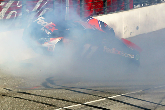 Denny Hamlin's crash during the last lap of the NASCAR Sprint Cup Series Auto Club 400 on March 24.
