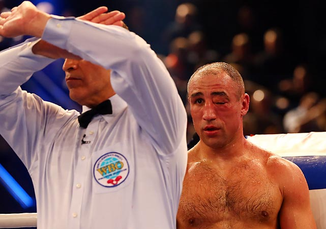 Eye can't believe it. The referee stopped the bout in the third round and declared Robert Stieglitz the winner of the WBO World Super Middleweight title at Getec Arena in Magdeburg, Germany.
