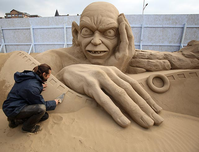 Radavan Zivny works on his Gollum at this year's Hollywood-themed bash in England. Opening on Good Friday, 20 award-winning sculptors from across this big old globe of ours got down to the gritty business of creating Harry Potter, Marilyn Monroe, <italics>Star Wars</italics> characters and more.