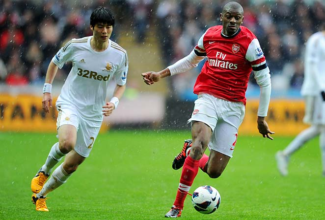 Abou Diaby and Arsenal are in fifth place in the Premier League.