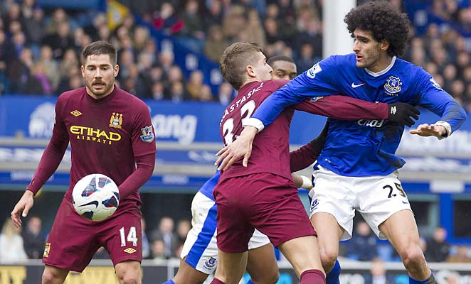 Marouane Fellaini (right) has 11 goals and five assists in 24 Premier League games.