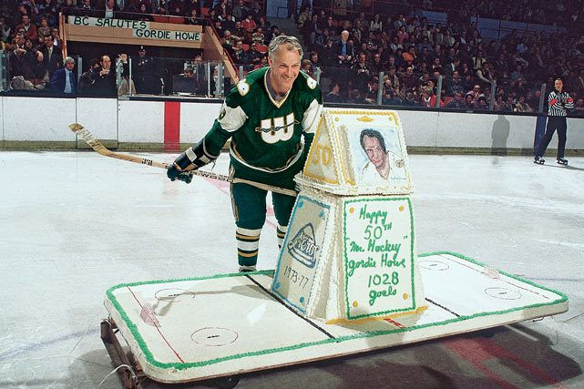 Mr. Hcckey admires his 50th birthday cake before a game against the Cincinnati Stingers. When he returned the NHL the next year as the league absorbed the Whalers, he became the oldest player in NHL history, and he remains the only person to play in it at age 50 or older.