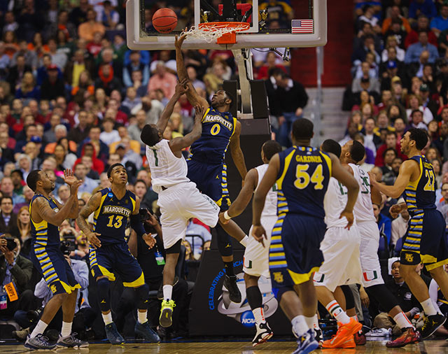 <bold>Jamil Wilson's block of a Durand Scott shot. Marquette is in the Elite Eight for the first time since 2003.</bold> <bold>Defeated Davidson 59-58</bold> <bold>Defeated Butler 74-72</bold> <bold>Defeated Miami 71-61</bold>