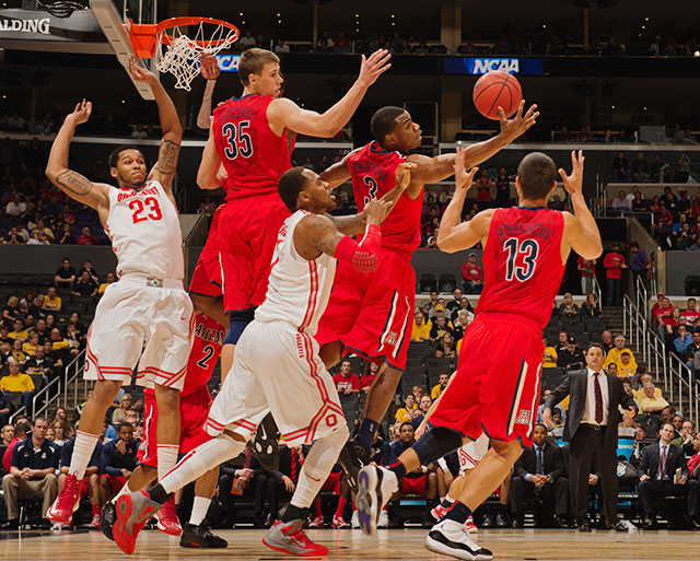 <bold>As the only top-eight seed left in the West, the Buckeyes will be Atlanta-bound with one more win.</bold> <bold>Defeated Iona 95-70</bold> <bold>Defeated Iowa State 78-75</bold> <bold>Defeated Arizona 73-70</bold>