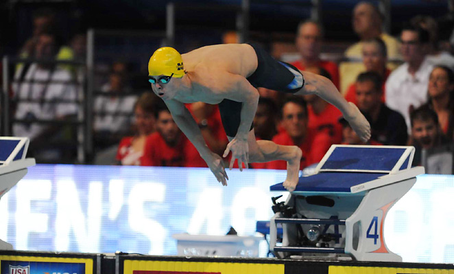 Connor Jaeger, seen here at the 2012 U.S. Olympic trials, helped Michigan take the lead at nationals.