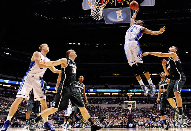 <bold>Rasheed Sulaimon (14) of Duke skies for a rebound in the Blue Devils' win over Michigan State on Friday.</bold> <bold>Defeated Albany 73-61</bold> <bold>Defeated Creighton 66-50</bold> <bold>Defeated Michigan St. 71-61</bold>