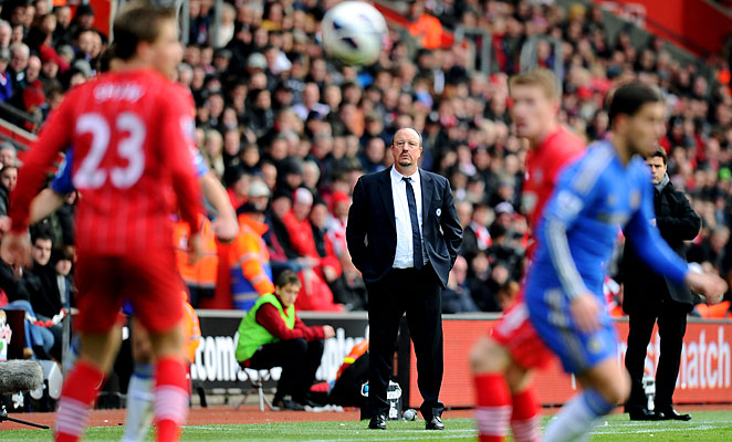 Rafa Benitez looks on as a second-choice Chelsea lineup fell 2-1 to Southampton at St. Mary's.