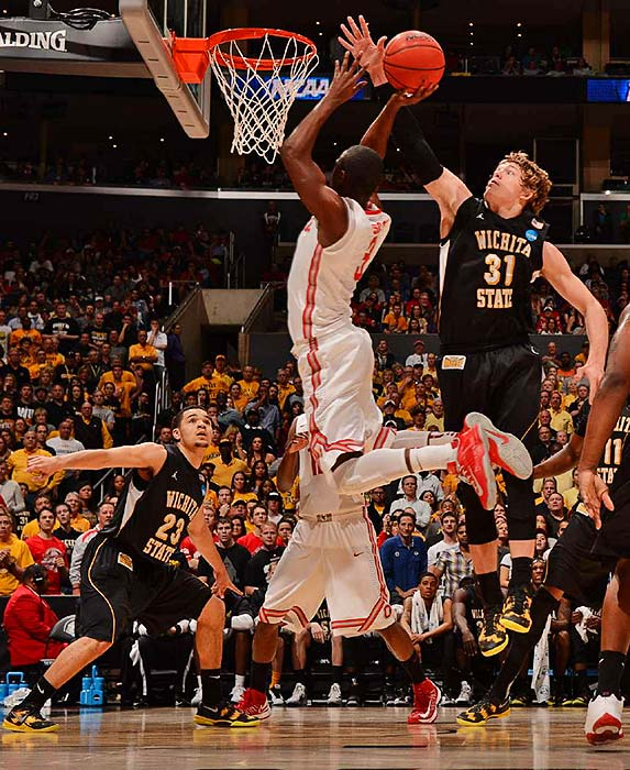 <bold>Ron Baker (31) of Wichita State goes in for a block against Ohio State. </bold> <bold>Defeated Pittsburgh 73-55</bold> <bold>Defeated Gonzaga 76-70</bold> <bold>Defeated La Salle 72-58</bold> <bold>Defeated Ohio State 70-66</bold> <bold>Next: vs. Louisville</bold>