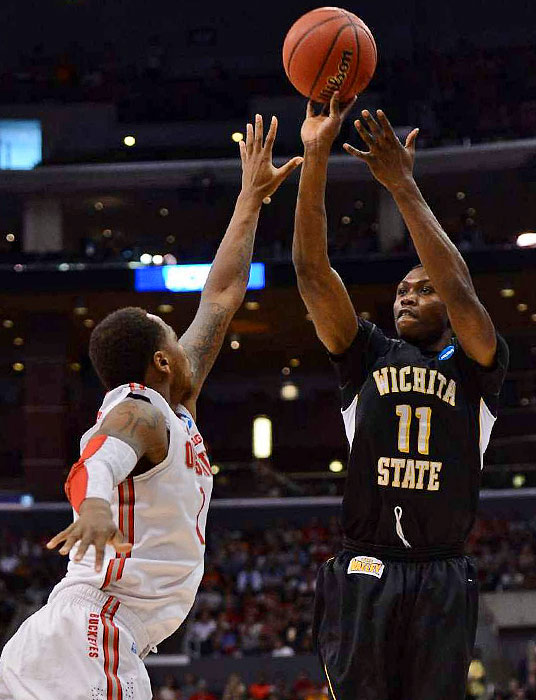 <bold>Cleanthony Early of Wichita St. rises for a shot against Ohio State in the Elite Eight. </bold> <bold>Defeated Pittsburgh 73-55</bold> <bold>Defeated Gonzaga 76-70</bold> <bold>Defeated La Salle 72-58</bold> <bold>Defeated Ohio State 70-66</bold> <bold>Next: vs. Louisville</bold>