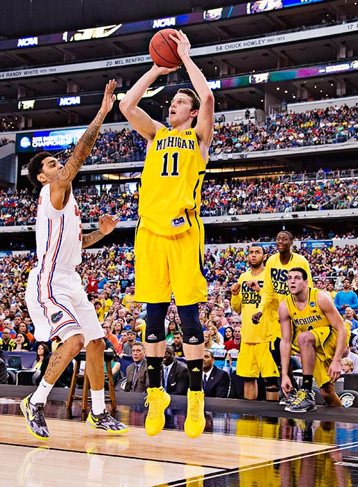 <bold>Nik Stauskas, one of three freshman starters, made all six of his three-pointers and finished with 22 points as the Wolverines made the Final Four for the first time since 1993.</bold> <bold>Defeated S. Dakota State 71-56</bold> <bold>Defeated VCU 78-53</bold> <bold>Defeated Kansas 87-85</bold> <bold>Defeated Florida 79-59</bold> <bold>Next: vs. Syracuse</bold>