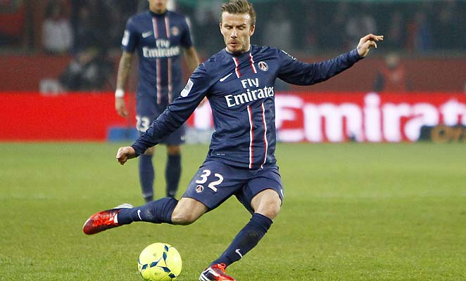 David Beckham and PSG face Barcelona in the Champions League quarterfinals.