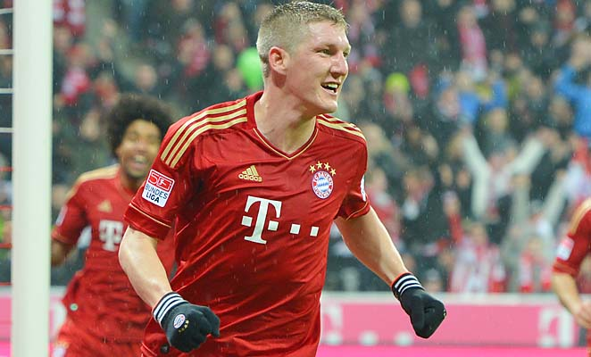 Bastian Schweinsteiger and Bayern Munich lead the Bundesliga by 20 points.