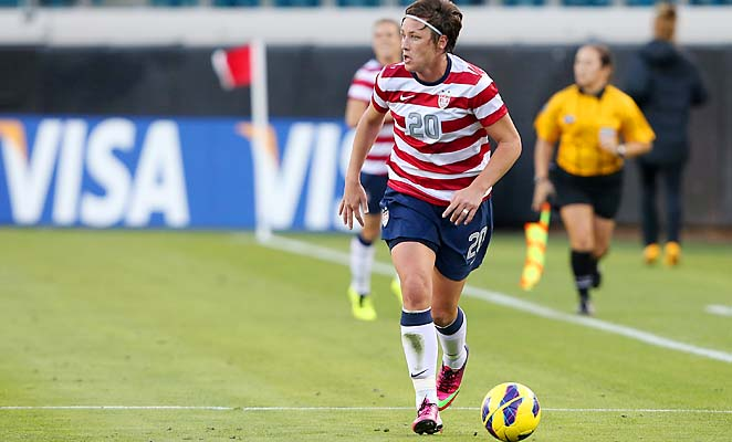 Abby Wambach is four goals behind Mia Hamm's international record of 158.