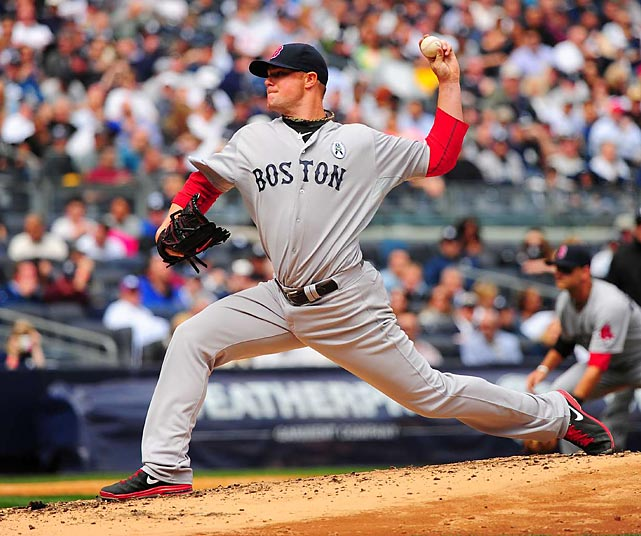 Boston's Jon Lester struck out seven Yankees in his five innings of Opening Day work. The Red Sox won 8-2.