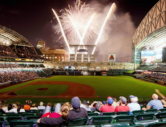 Houston fans celebrate their team's first W of the season with fireworks at Minute Maid Park.