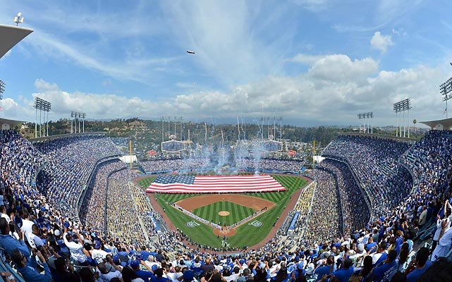 The Los Angeles Dodgers kicked off their season against the Giants at Dodger Stadium.