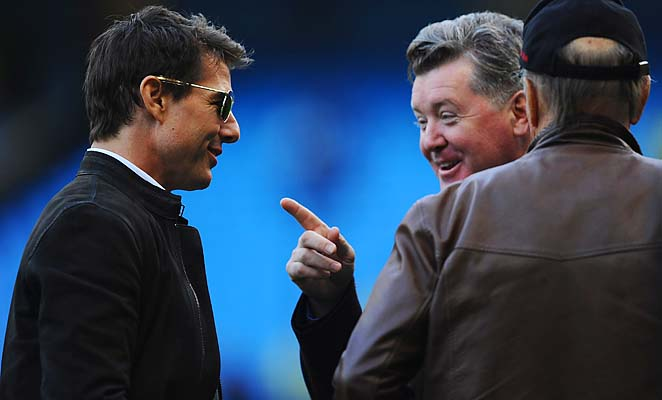 Tom Cruise attended a Manchester City-Manchester United match in December.