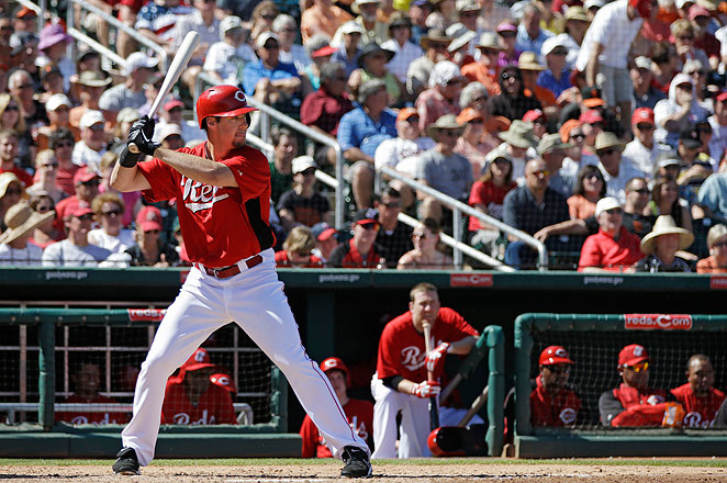 Ryan Ludwick, seen here during spring training, walked twice before leaving in the bottom of the third.