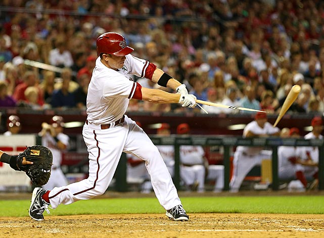 Aaron Hill of the Diamondbacks hits a broken bat single in a game Arizona won 6-2.