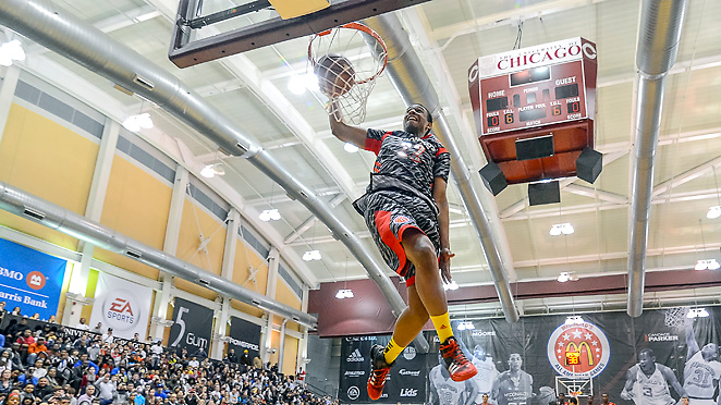 Duke signee Jabari Parker skies for a dunk during the McDonalds All-America Game JamFest.