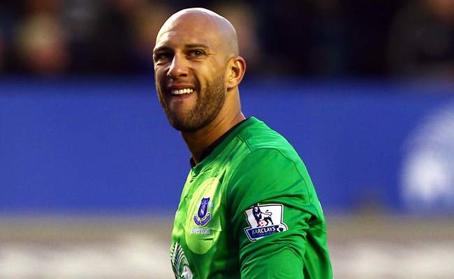 A month after breaking two bones in his back, Tim Howard recorded a clean sheet for Everton.