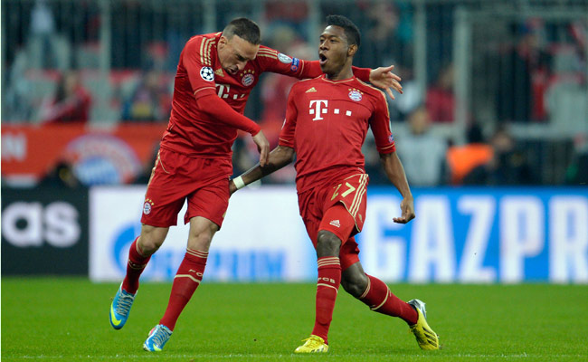 David Alaba (right) celebrates with Franck Ribery after scoring in the first minute vs. Juventus.