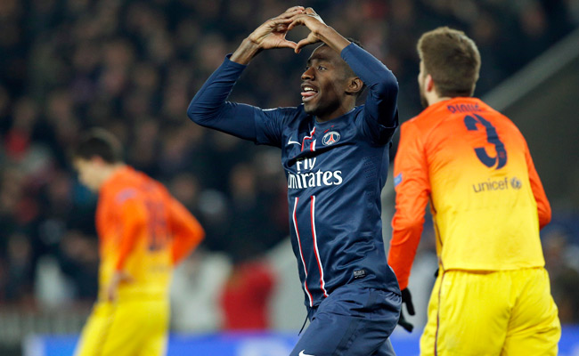 Blaise Matuidi celebrates after scoring against Barcelona with the final kick of the match.
