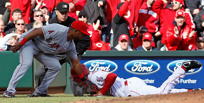 Ryan Ludwick hurt his shoulder while sliding into third base on Opening Day.