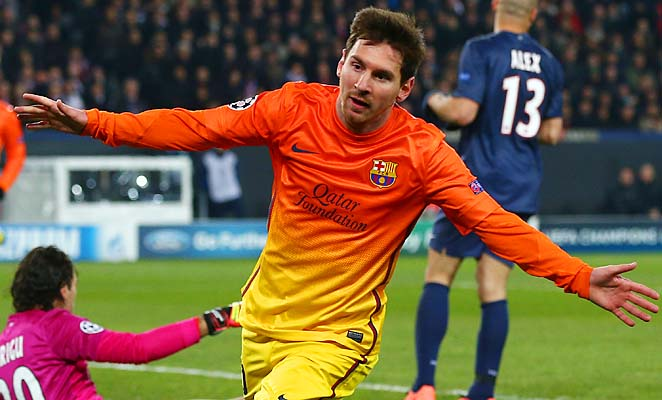 Lionel Messi scored the opening goal for Barcelona in its 2-2 draw with PSG on Tuesday.