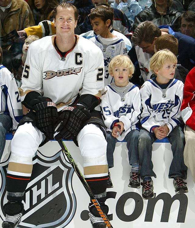 During his three seasons with the Ducks, Pronger was chosen to play in the 2008 NHL All-Star Game, the last of his five appearances. Here he poses with his sons George and Jack before the SuperSkills competition at Philips Arena in Atlanta.