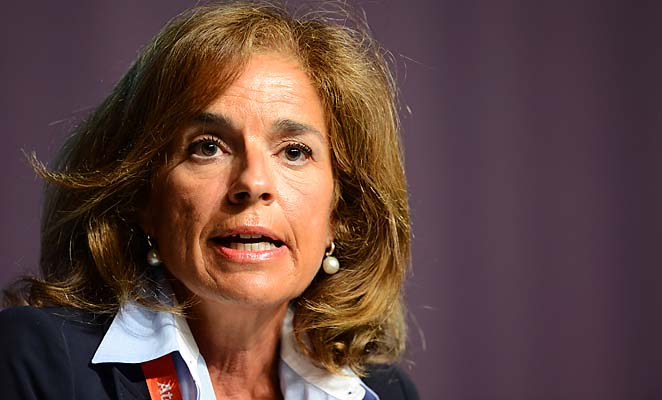 Ana Botella speaks at a Madrid 2020 press conference at the London Olympics.