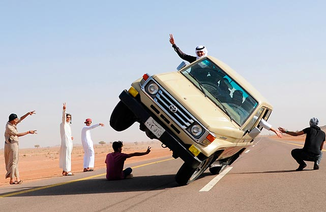 Oh, those crazy kids in Saudi Arabia. Driving on at high speeds on two wheels is all the rage in the desert kingdom these days, it seems.