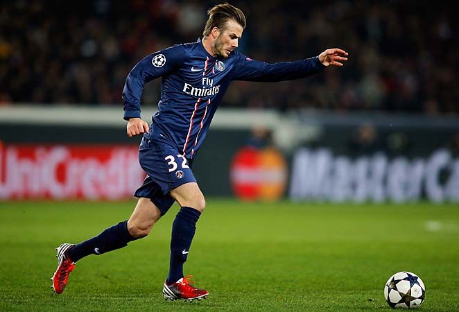 David Beckham and PSG drew Barcelona 2-2 in the opening leg in France.