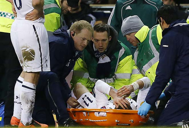 Gareth Bale had to be stretchered off during Thursday's Europa League game against Basel.