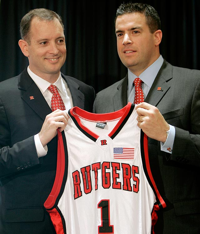 On the cusp of a monumental move to the Big Ten, Rutgers once again fell into scandal with the release of video footage of basketball coach Mike Rice (left) physically and verbally abusing players during practice sessions. Rice was fired the next day and athletic director Tim Pernetti (right) resigned shortly thereafter on the heels of information that the school had known about the coach's behavior for four months and opted not to terminate him.