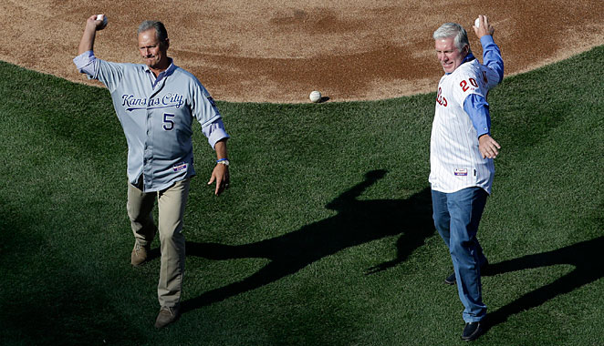 George Brett and Mike Schmidt threw out the first pitch of the Royals vs. Phillies game on Friday.