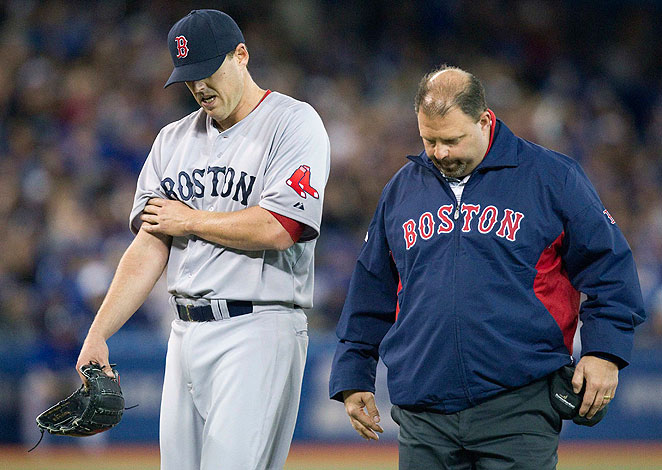 John Lackey, who missed all of 2012 after surgery, left his start against Toronto in the fifth inning.