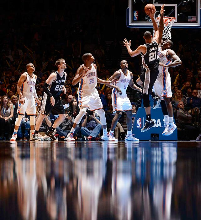 Spurs' center Tim Duncan rises up during San Antonio's game against fellow Western Conference powerhouse Oklahoma City.