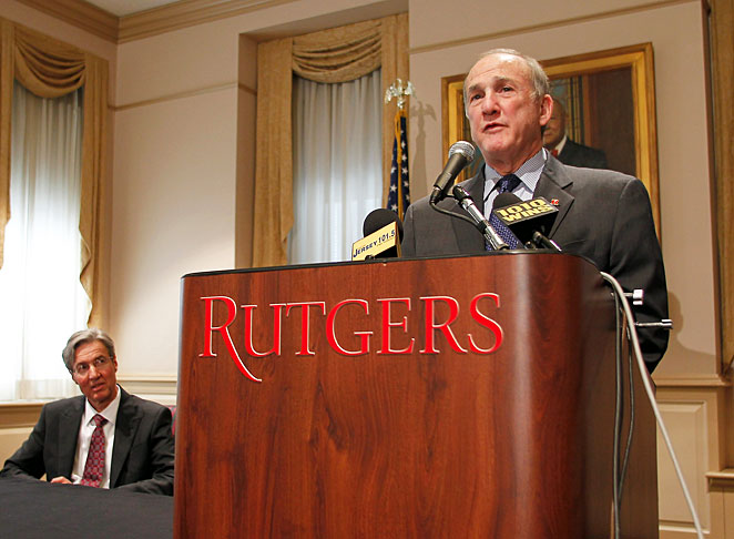 Rutgers president Robert L. Barchi (right) appointed Carl Kirschner to become the school's interim AD.