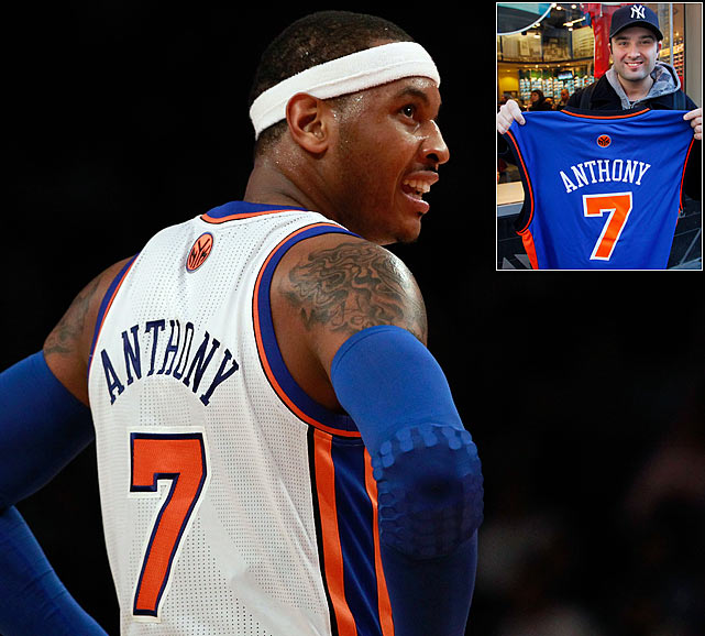 Carmelo Anthony claimed the No.1 spot on the NBA's top-selling jerseys list for the first time in his career and is the first Knicks player to lead the jersey rankings since the list was first released in the 2001-02 season. The rankings are based on combined sales at NBAStore.com and the NBA Store on Fifth Avenue from November 2012 to present. When the rankings were released last November, Carmelo was No.4 on the list, but he was able to pass LeBron, Durant and Kobe to move up to No.1. The Knicks remain the top-selling team on the list for the second consecutive time. In November, they were ranked No.1 for the first time since 2004.