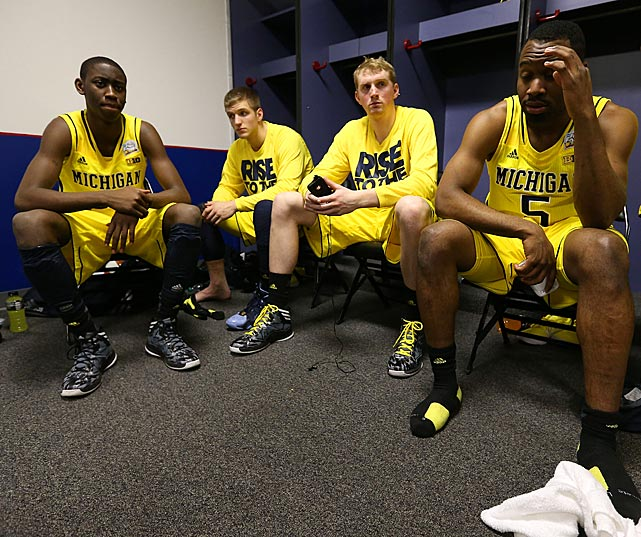 Only one school makes it through March Madness unscathed -- and Louisville celebrated that achievement with gusto Monday night. Here's a look at Michigan and some other disappointed teams after the games in which they were eliminated -- working backward from the national title game through the third round.