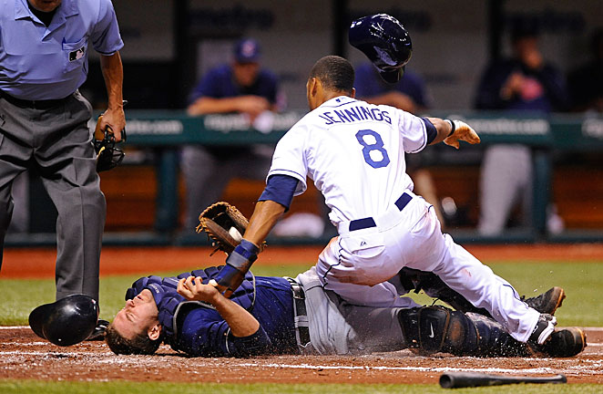 Cleveland catcher Lou Marson was fortunate to avoid serious injury when the Rays' Desmond Jennings ran him over last Saturday.