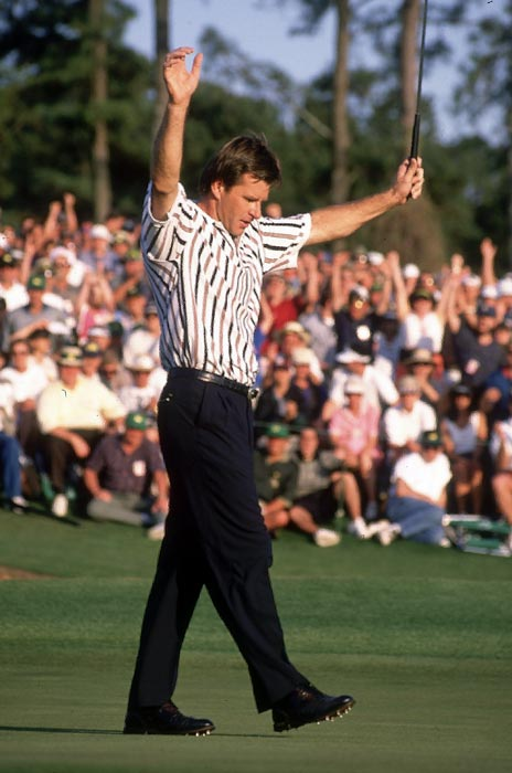 Nick Faldo fired a 67 in the final round of the 1996 Masters to beat Greg Norman by five shots.