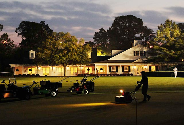 Mowers worked before dawn at Augusta National Golf Club during the 2012 Masters.