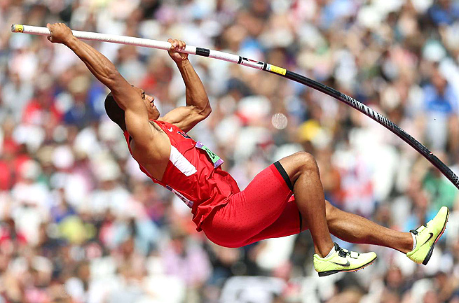 Ashton Eaton broke the decathlon world record at the Olympic Trials, then won Olympic gold in London.